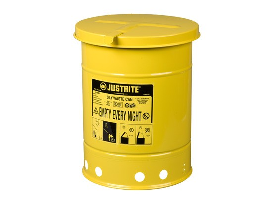 Justrite Hand-Operated Cover Oily Waste Can, 6 Gallon, Yellow (#09111)