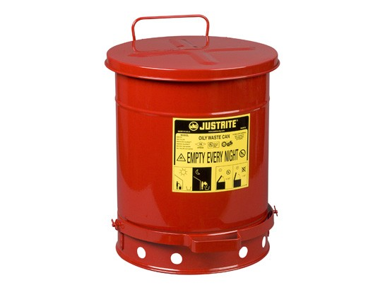 Justrite Foot-Operated Self-Closing Cover Oily Waste Can, 10 Gallon, Red (#09300)