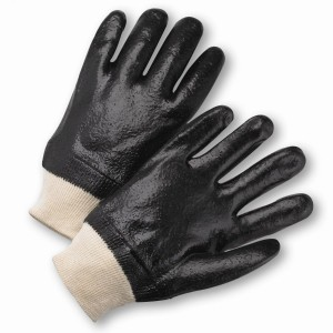 West Chester® PVC Dipped Glove with Interlock Liner and Rough Finish - Knitwrist  (#1007R)