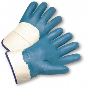 Heavyweight Nitrile Palm Coated, Jersey Lined, Safety Cuff Gloves (#4550)
