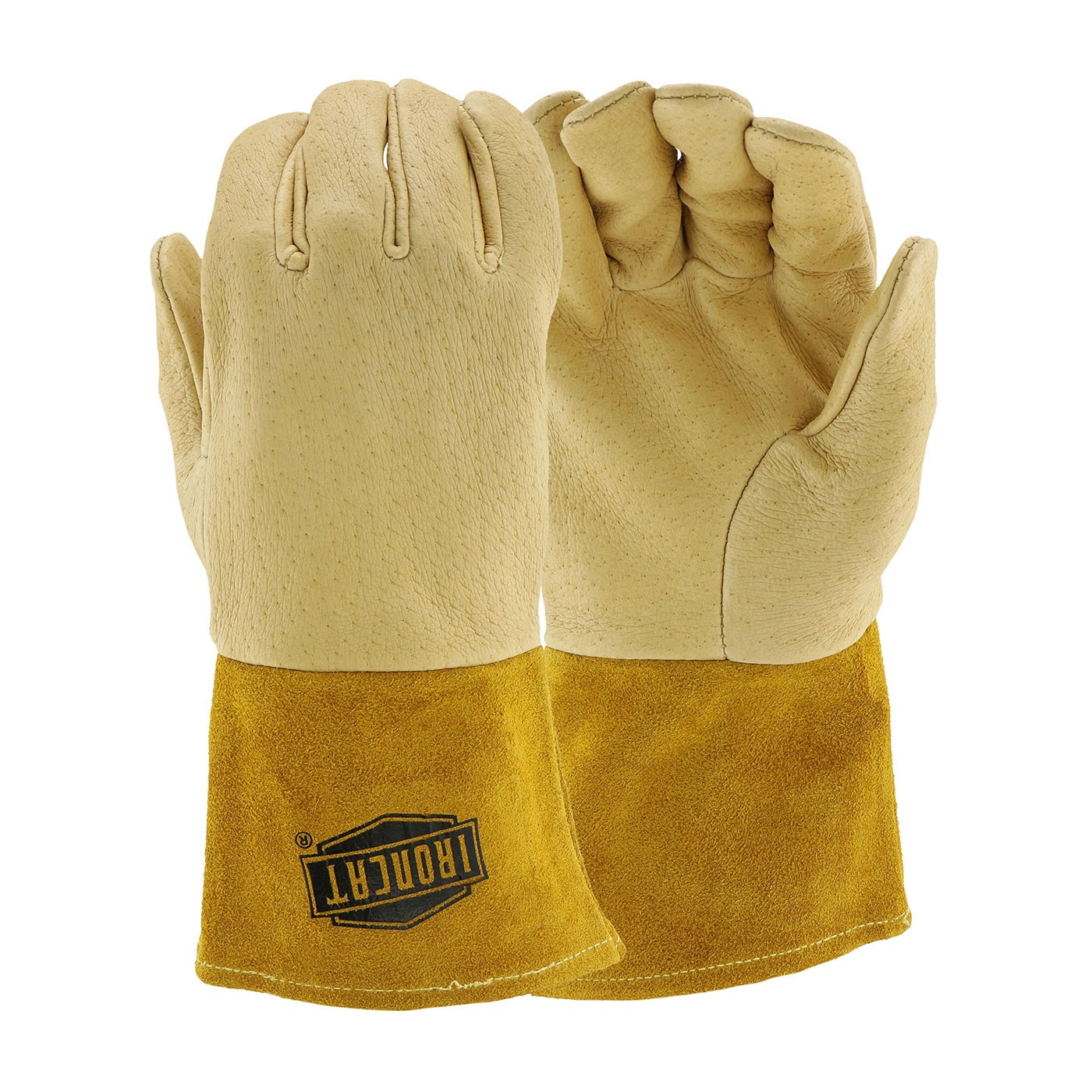 Ironcat® Ironcat® Premium Top Grain Pigskin Leather Mig Welder's Glove with Kevlar® Stitching - Split Leather Gauntlet Cuff  (#6021)