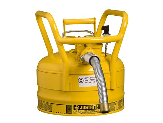 Justrite Type II D.O.T. Safety Can, 2.5 gallon, Yellow (#7325230)