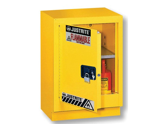 Justrite Under Fume Hood Solvent/Flammable Liquid Safety Cabinet, 1 Shelf, Manual Left Hand Door, 15 Gallon Cap. (#882410)