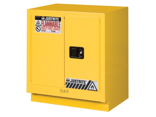 Justrite Under Fume Hood Solvent/Flammable Liquid Safety Cabinet, 1 Shelf, 2 Manual Doors, 19 Gallon Cap. (#883000)
