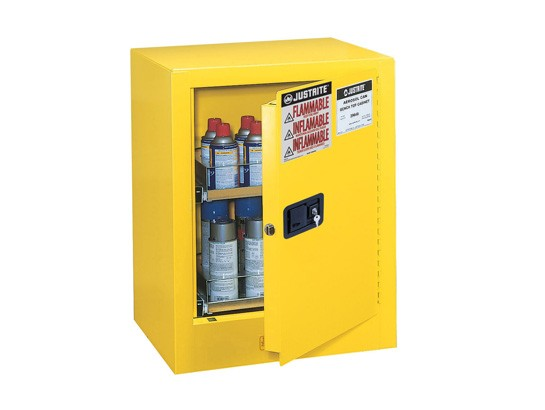Sure-Grip EX Benchtop Flammable Safety Cabinet, 2 Drawers, Manual Door, 24 Aerosol Cans Cap. (#890500)