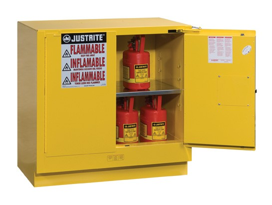 Sure-Grip EX Undercounter Flammable Safety Cabinet, 1 Shelf, Self-Close Doors, 22 Gallon Cap. (#892320)
