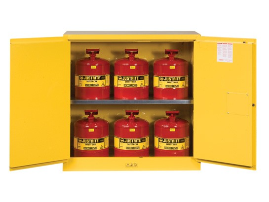 Sure-Grip EX Flammable Safety Cabinet/Can Package, 2 Shelf, Manual Doors, 30 Gallon Cap. (#8930008)