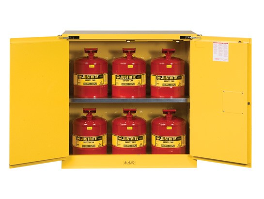 Sure-Grip EX Flammable Safety Cabinet/Can Package, 2 Shelf, Self-Close Doors, 30 Gallon Cap. (#8930208)