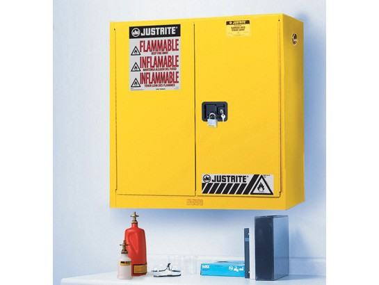 Sure-Grip EX Wall Mount Flammable Safety Cabinet, 5 Shelf, Manual Doors, 20 Gallon Cap. (#893400)