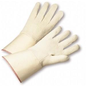 PIP® Premium Grade Cotton Canvas Single Palm Glove - Starched Gauntlet Cuff  (#GS21I)