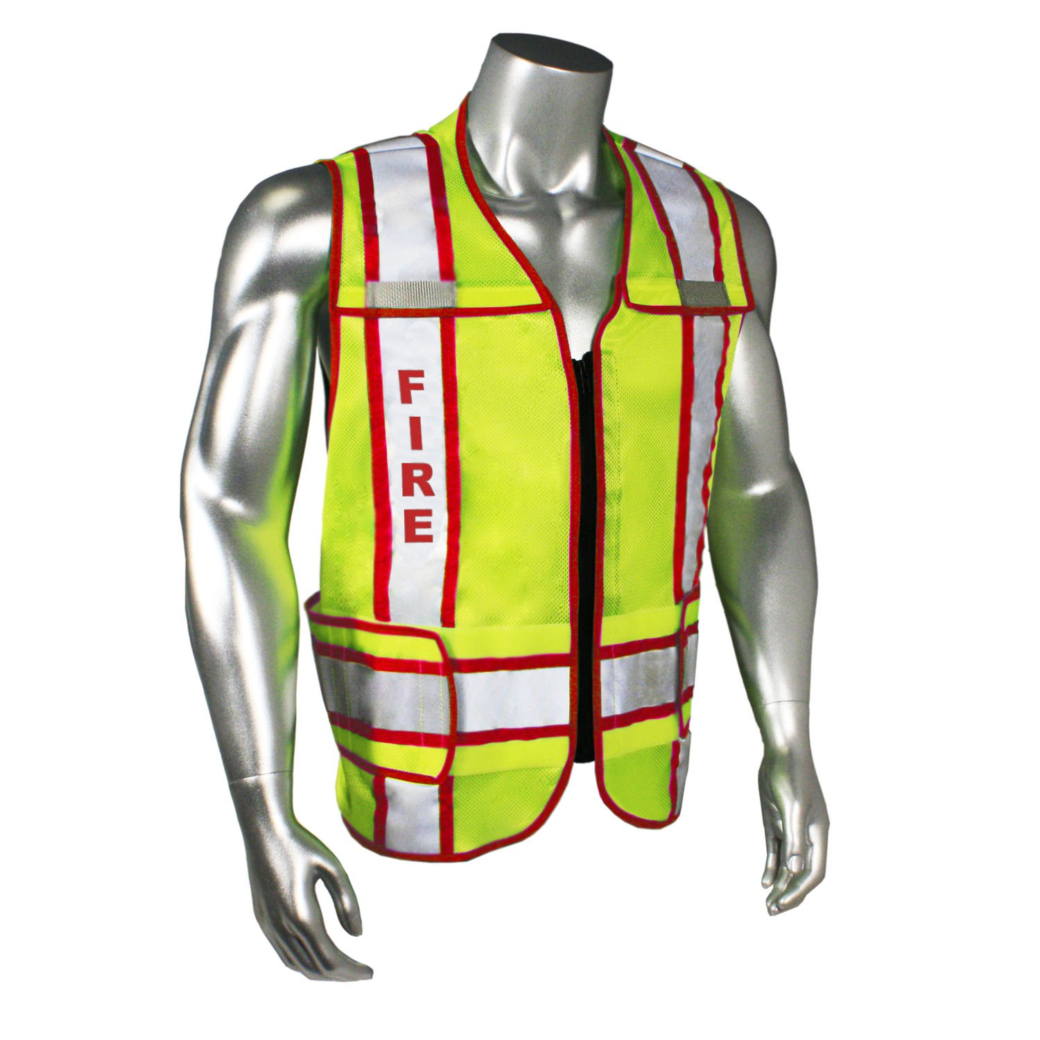 Breakaway Contrast Fire Safety Vest, Red Trim (#LHV-207-3G-FIR)