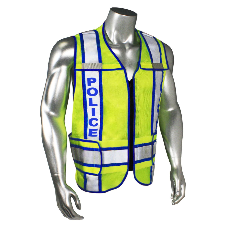 Breakaway Contrast Police Safety Vest, Blue Trim (#LHV-207-3G-POL)