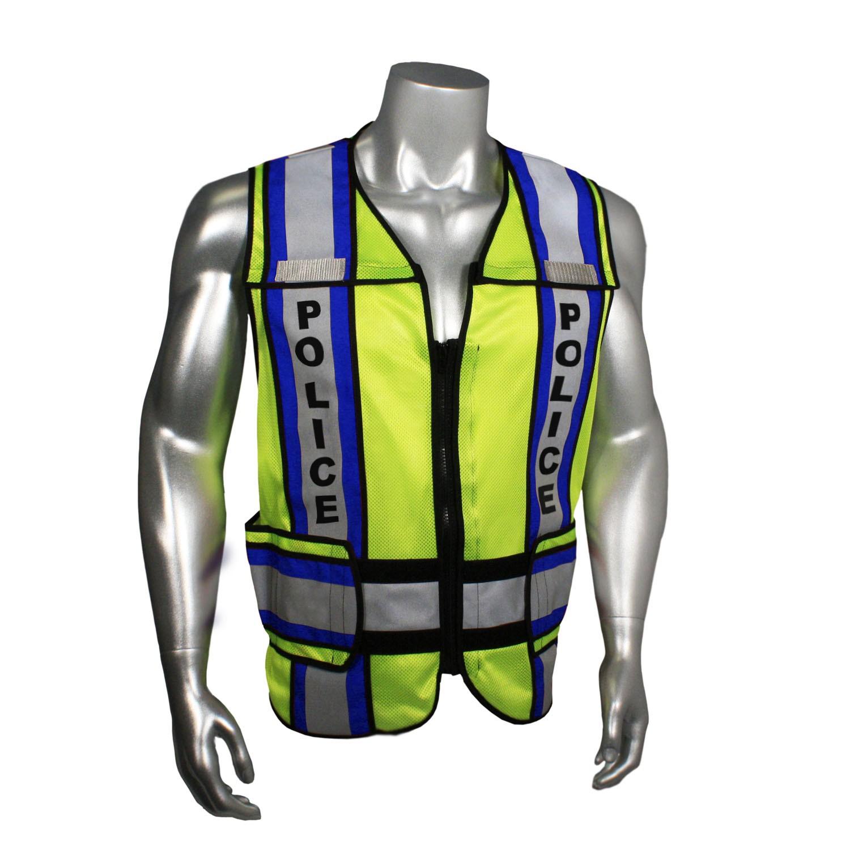 """Breakaway 4"""" Contrast Police Safety Vest, Blue Trim (#LHV-207-4C-POL)"""