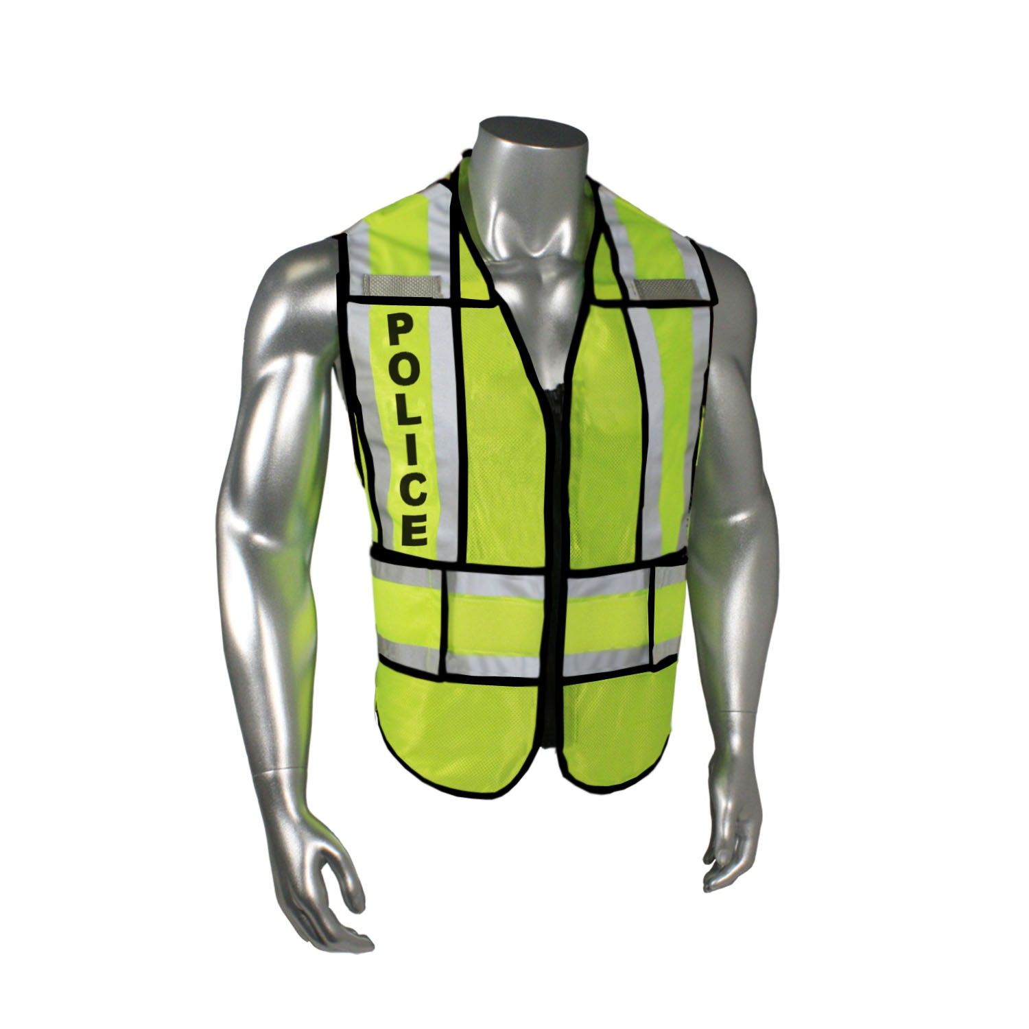 "Breakaway 1"" Split Police Safety Vest, Black Trim (#LHV-207-SPT-BLK-POL)"