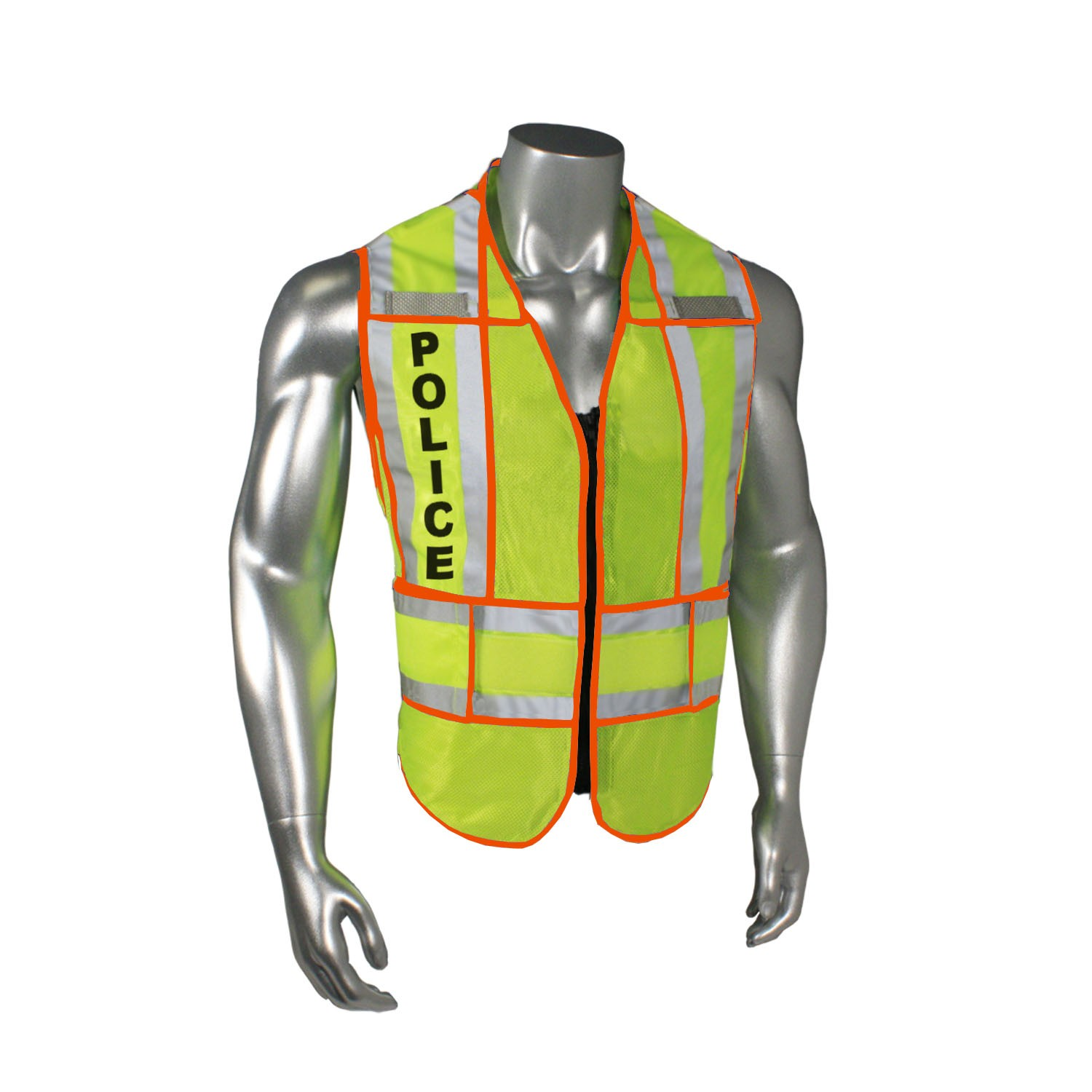 "Breakaway 1"" Split Police Safety Vest, Orange Trim (#LHV-207-OSPT-POL)"