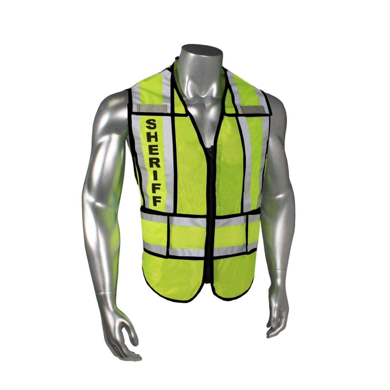 """Breakaway 1"""" Split Sheriff Safety Vest, Black Trim (#LHV-207-SPT-SHF)"""