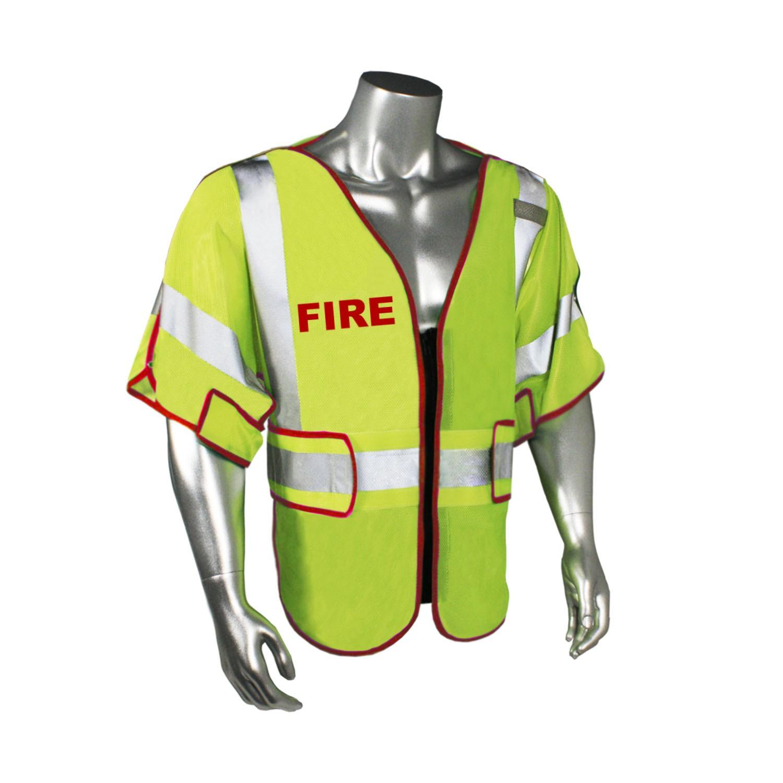 Breakaway Class 3 Fire Safety Vest, Red Trim (#LHV-PS3-DSZR-FIR)
