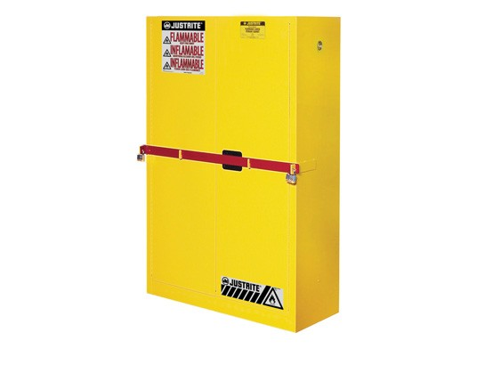 Sure-Grip High Security Flammable Safety Cabinet With Steel Bar, 2 Shelf, Self-Close Doors, 45 Gallon Cap. (#SC29884Y)
