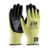 G-Tek® KEV™ Seamless Knit Kevlar® / Lycra Glove with Nitrile Coated Smooth Grip on Palm & Fingers - Medium Weight  (#09-K1450)