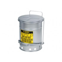 Justrite Foot-Operated Self-Closing Soundgard Cover Oily Waste Can, 6 Gallon, Silver (#09104)