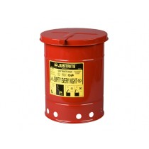 Justrite Hand-Operated Cover Oily Waste Can, 6 Gallon, Red (#09110)
