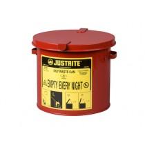 Justrite Countertop Oily Waste Can, 2 gallon, Red (#09200)
