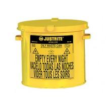 Justrite Countertop Oily Waste Can, 2 gallon, Yellow (#09200Y)