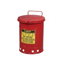 Justrite Hand-Operated Cover Oily Waste Can, 10 Gallon, Red (#09310)