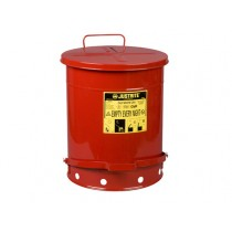 Justrite Foot-Operated Self-Closing Cover Oily Waste Can, 14 Gallon, Red (#09500)