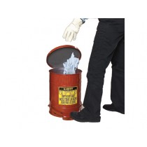 Justrite Foot-Operated Self-Closing Soundgard Cover Oily Waste Can, 14 Gallon, Red (#09508)