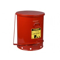 Justrite Foot-Operated Self-Closing Soundgard Cover Oily Waste Can, 21 Gallon, Red (#09708)