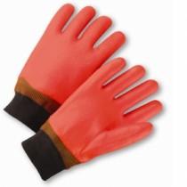 Safety Orange Smooth Finish PVC Coated Gloves (#1007OR)