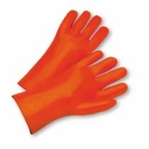 Safety Orange Smooth PVC Gauntlet Cuff Gloves (#1027OR)