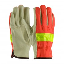 PIP® Top Grain Pigskin Leather Palm Drivers Glove with Hi-Vis Nylon Back - Open Cuff  125-368
