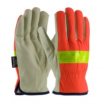 PIP® Top Grain Pigskin Leather Palm Drivers Glove with Hi-Vis Nylon Back and 3M™ Thinsulate™ Liner - Open Cuff  (#125-468)