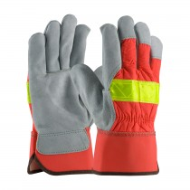 PIP® Select Shoulder Split Cowhide Leather Palm Glove with Hi-Vis Nylon Back - Rubberized Safety Cuff  (#125-7563)