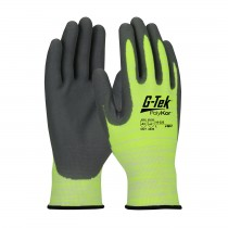 G-Tek® PolyKor® Hi-Vis Seamless Knit PolyKor® Blended Glove with Nitrile Coated Foam Grip on Palm & Fingers  (#16-323)
