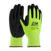 G-Tek® PolyKor® Hi-Vis Seamless Knit PolyKor® Blended Glove with Double-Dipped Nitrile Coated MicroSurface Grip on Palm & Fingers  (#16-343LG)