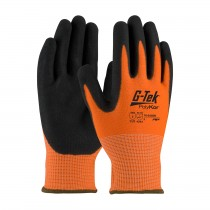 G-Tek® PolyKor® Hi-Vis Seamless Knit PolyKor® Blended Glove with Double-Dipped Nitrile Coated MicroSurface Grip on Palm & Fingers  (#16-343OR)