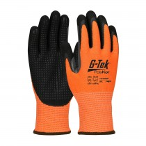 G-Tek® PolyKor® Hi-Vis Seamless Knit PolyKor® Blended Glove with Double-Dipped Nitrile Coated MicroSurface Grip on Palm & Fingers, Micro Dot Palm and Extended Thumb Crotch  (#16-345OR)