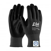 G-Tek® 3GX® Black Seamless Knit Dyneema® Diamond Blended Glove with Polyurethane Coated Smooth Grip on Palm & Fingers - Touchscreen Compatible  (#19-D526B)
