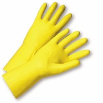 Premium Flocked Yellow Latex Coated Gloves (#2312)