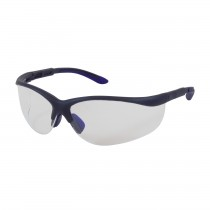 Hi-Voltage AC™ Semi-Rimless Safety Glasses with Blue Frame, Clear Lens and Anti-Scratch / Anti-Fog Coating  (#250-21-0120)