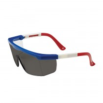 Hi-Voltage ARC™ Semi-Rimless Safety Glasses with Red / White / Blue Frame, Gray Lens and Anti-Scratch Coating  (#250-24-0301)