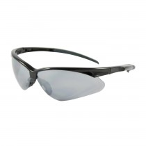 Adversary™ Semi-Rimless Safety Glasses with Black Frame, Silver Mirror Lens and Anti-Scratch Coating  (#250-28-0006)