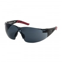 Q-Vision™ Rimless Safety Glasses with Black / Burgundy Temples, Gray Lens and Anti-Scratch / Anti-Fog Coating  (#250-36-0021)