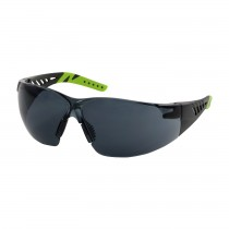 Q-Vision™ Rimless Safety Glasses with Black / Lime Green Temples, Gray Lens and Anti-Scratch / Anti-Fog Coating  (#250-36-1021)
