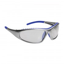 FlashFire™ Full Frame Safety Glasses with Silver / Blue Frame, Clear Lens and Anti-Scratch / Anti-Fog Coating  (#250-60-0620)