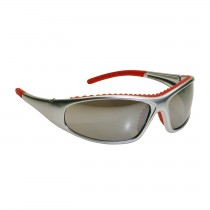 FlashFire™ Full Frame Safety Glasses with Silver / Red Frame, Red Mirror Lens and Anti-Scratch / Anti-Fog Coating  (#250-60-0625)