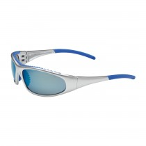 FlashFire™ Full Frame Safety Glasses with Silver / Blue Frame, Blue Mirror Lens and Anti-Scratch / Anti-Fog Coating  (#250-60-0626)